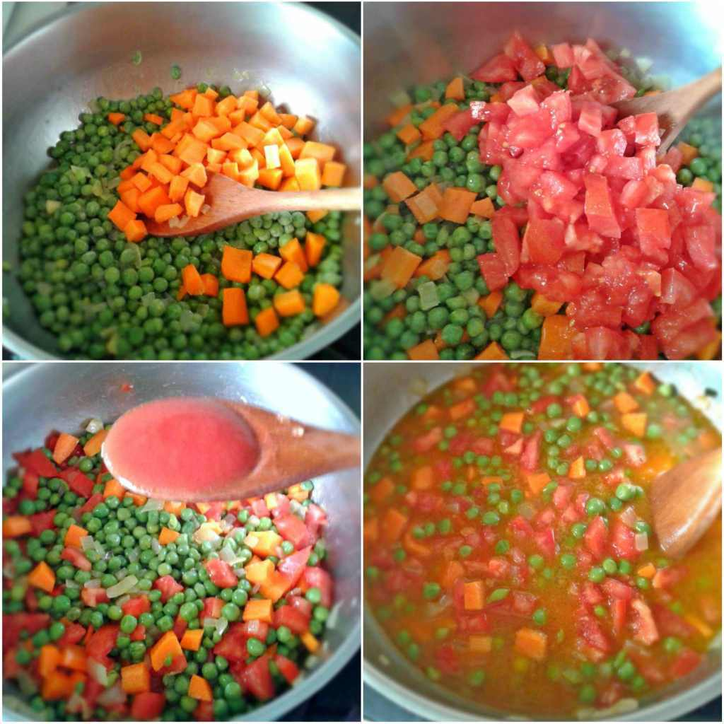 Peas with tomatoes and carrots