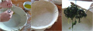 making Greek spinach pie