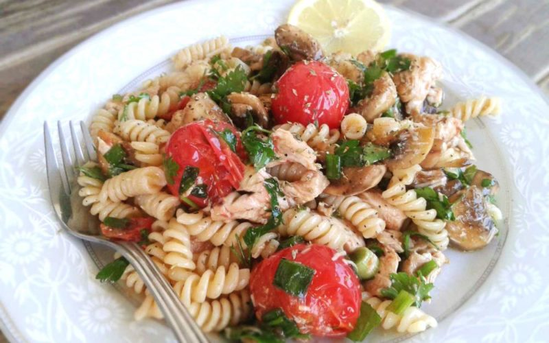 Greek Chicken Pasta Salad Recipe With Mushrooms And Cherry Tomatoes