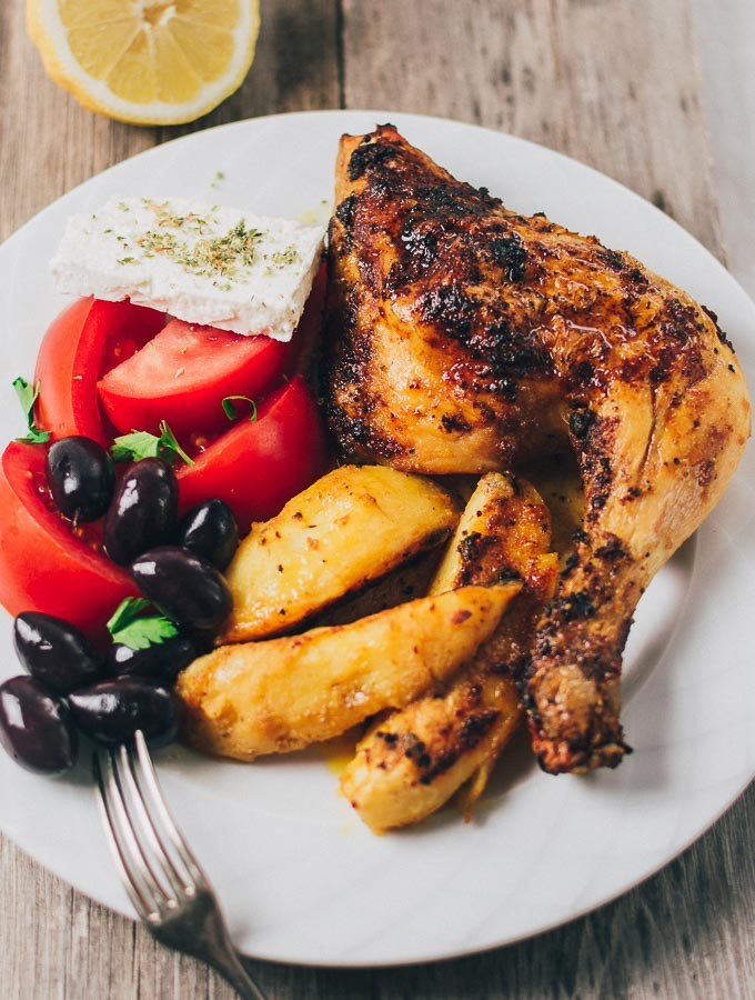 Greek Roast Chicken Lemon Garlic