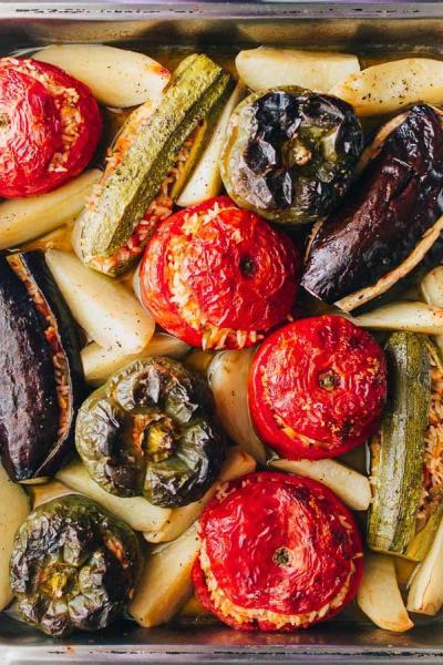 Greek Stuffed Tomatoes And Peppers Recipe (Gemista)
