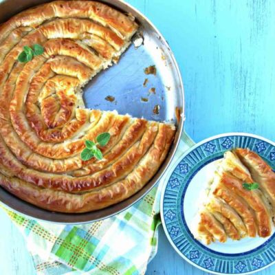 Greek Snail Shaped Cheese Pie Recipe With Feta, Yogurt And Béchamel Cream Filling