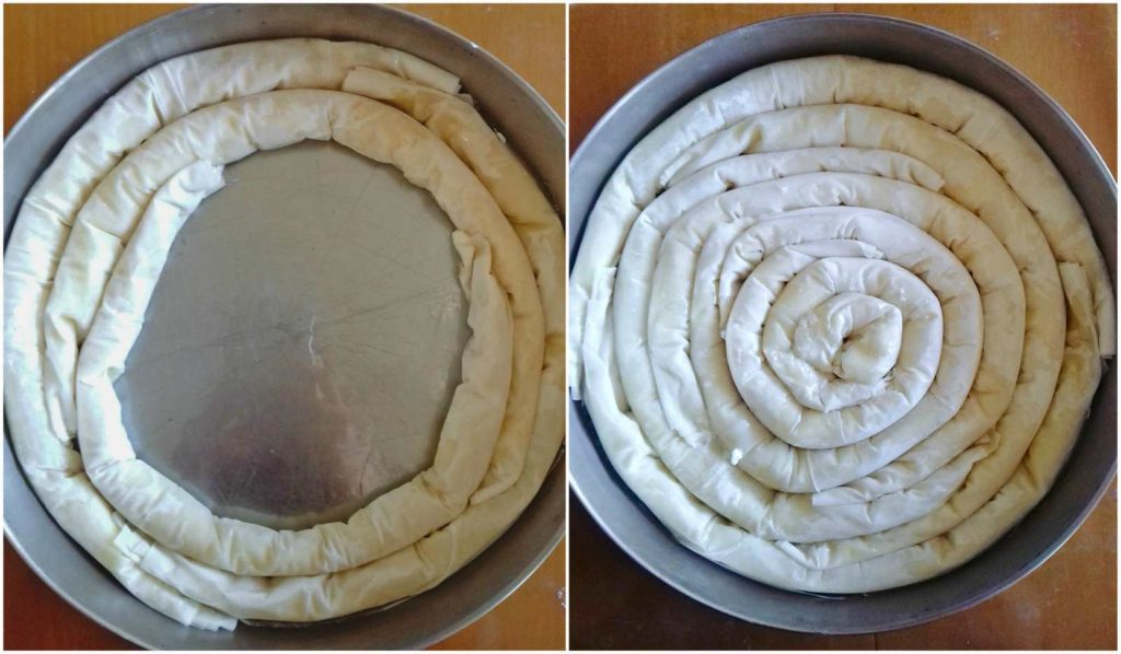 Making A Spiral Greek Cheese Pie