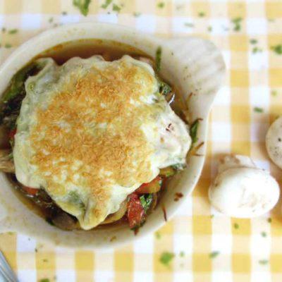 Greek Mushroom Saganaki (Cheesy Mushroom Gratin)