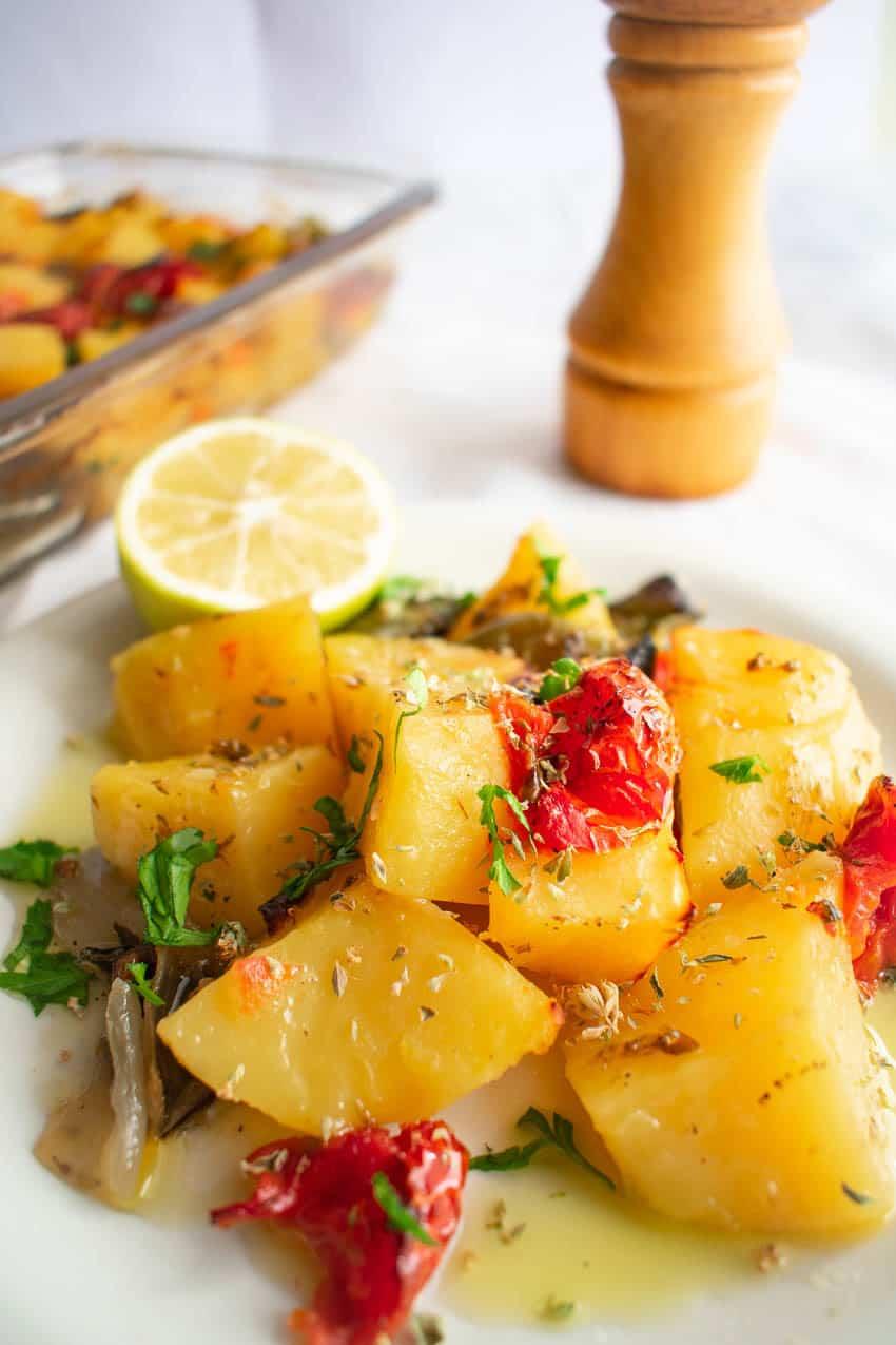 Greek Style Potato Recipe With Veggies