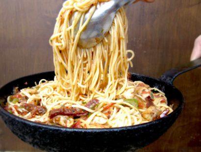 Pasta With Chicken And Sun-Dried Tomatoes aka (Jim&Sally's favorite Spaghetti Dish)