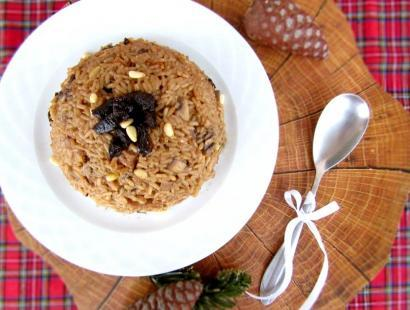 Christmas Rice Recipe With Pancetta, Prunes, And Pine Nuts