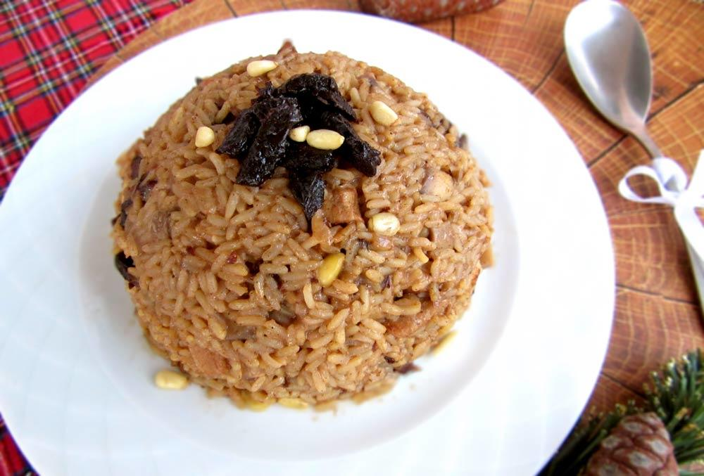 Festive Rice With Wine, Pancetta, Prunes And Pine Nuts