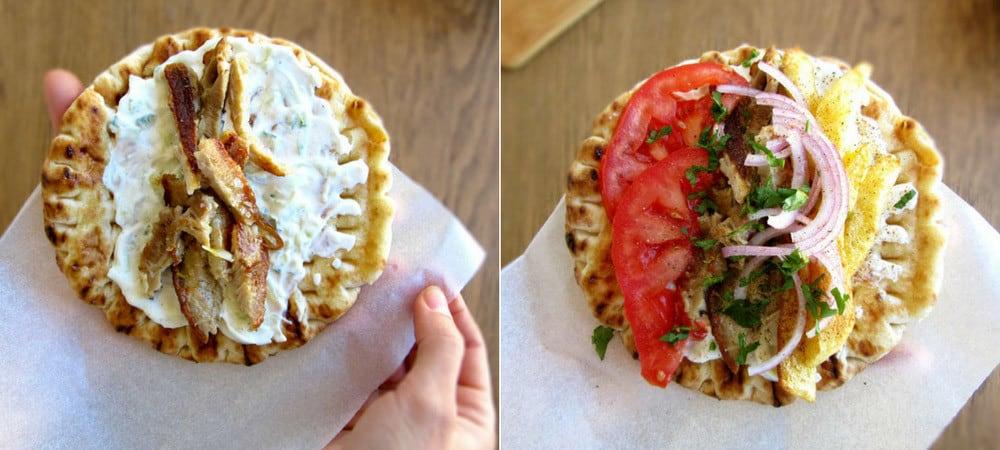 Making Greek Pita With Pork Gyro