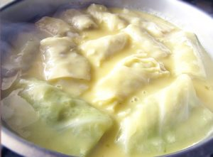 Cabbage Rolls Diped In Egg Lemon Sauce