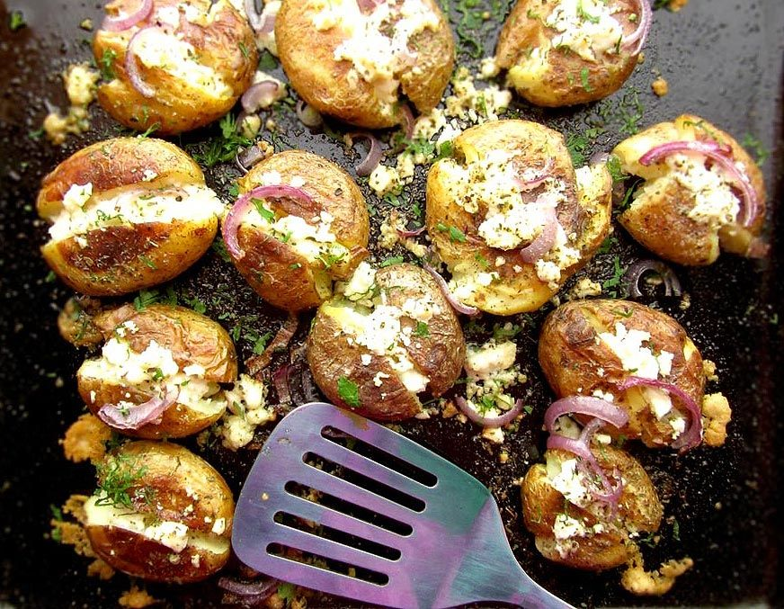 Roasted Greek Potatoes Recipe With Feta Cheese