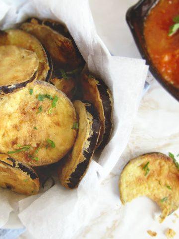 Greek Fried Eggplant Slices (Melitzanes Tiganites)