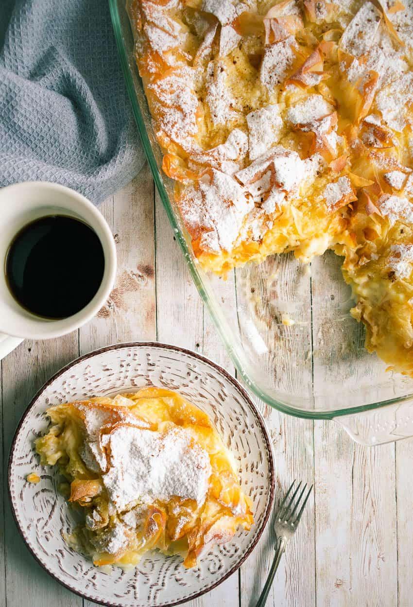 Bougatsa Greek Cream Filled Filo Pastry