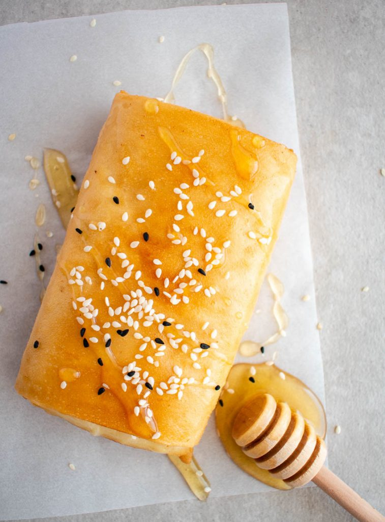 Feta Filo Pastry Wrap With Honey And Sesame