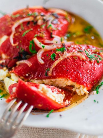 Roasted Red Peppers Stuffed With Feta Cheese