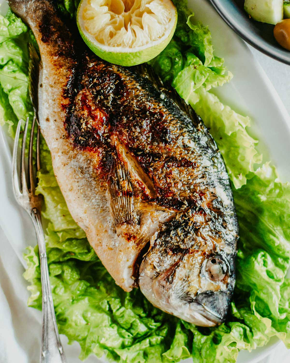 Grilled Sea Bream Served On Lettuce Leaves
