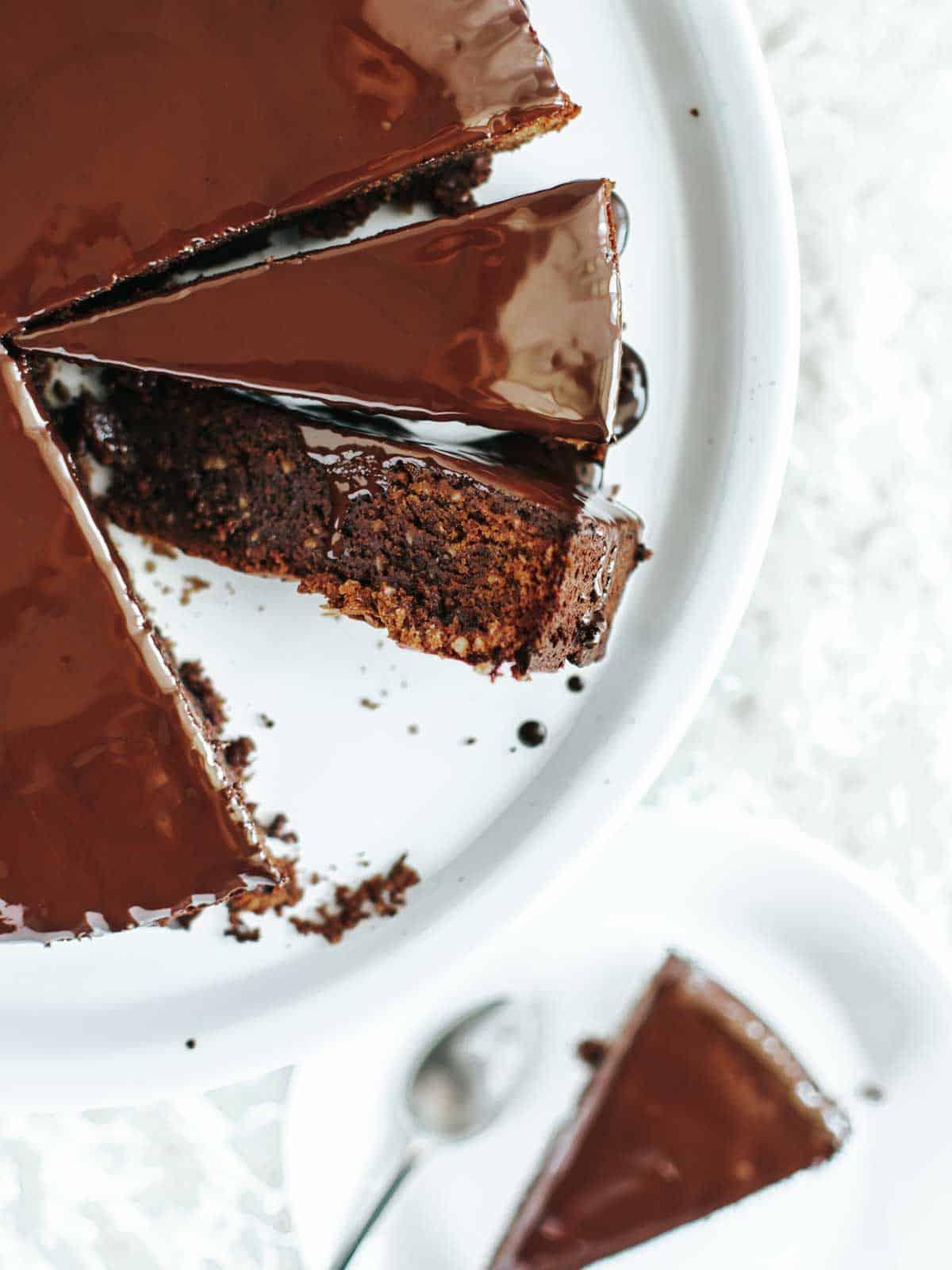 Dark Chocolate Olive Oil Glazed Cake