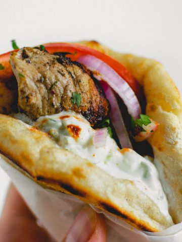 Pork Souvlaki Pita Wraps (with Tzatziki)