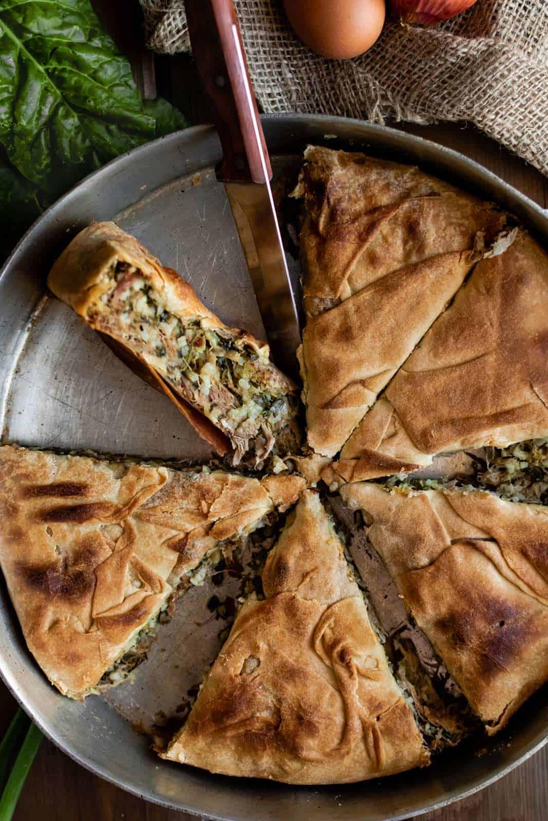 phyllo lamb pie with rice